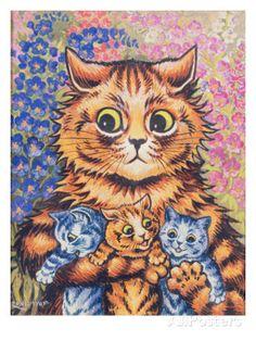A Cat with her Kittens Impressão giclée por Louis Wain na AllPosters.com.br