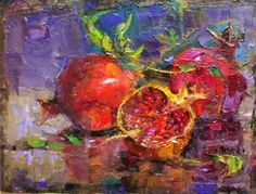 """Daily Paintworks - """"Pomegranate Trio - day 26 in the challenge"""" - Original Fine Art for Sale - © Julie Ford Oliver Still Life Drawing, Painting Still Life, Pomegranate Art, Degenerate Art, Still Life Fruit, Fruit Painting, Jewish Art, Fine Art Gallery, Art Sketchbook"""