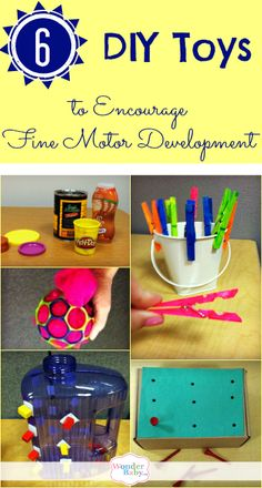 I talked to an OT about some of the home-made toys she creates for her students to help them learn fine motor skills. Here are six of my favorites!
