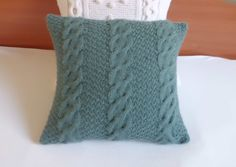 Knitted cushion cover blue spruce, cable knit pillow cover, knit decorative couch pillow, knitted throw pillow, home decor, children room