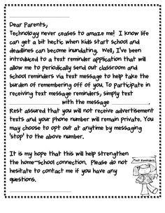 Remind 101 Parent Letter