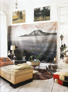 mountain mural + paintings