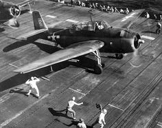 U.S. Navy  Grumman TBF/TBM Avenger of Torpedo Squadron (VT) 8 is poised for launch from the aircraft carrier USS Bunker Hill (CV-17) for a strike against Saipan on 10 June 1944.