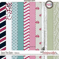Save The Date Patterned Paper Pack - 10 beautifully textured and patterned papers coordinating with the March 2017 Mini O Colors Pattern Paper, Save The Date, Digital Scrapbooking, Flag, Texture, Creative, Patterns, Surface Finish, Block Prints