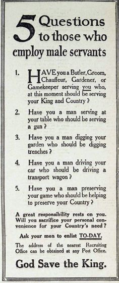 """World War I, Daily Telegraph. """"Will you sacrifice your personal convenience""""..."""