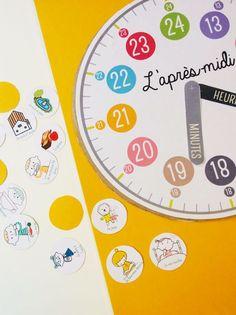 Fabriquer une horloge est un projet parfait pour apprendre à lire l'heure ! Avec notre bricolage d'horloge, les enfants vont se familiariser avec les chiffres d'une horloge en les mettant en relation avec les moments de la journée grâce aux petites pastilles qui accompagnent l'horloge (je me lève, je mange, je joue, etc.). Dans cette version, nous avons volontairement proposé deux cadrans : un pour le matin et un pour l'après midi.
