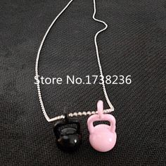 Fitness Crossfit Paint Kettlebell Charm Jewelry Necklaces Bead Chain