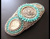 Silver & Turquoise Bead Embroidered Beaded Hair Barrette