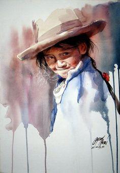 Watercolor by Rogger Oncoy Watercolor Portrait Painting, Watercolor Face, Watercolor Artists, Watercolor Techniques, Portrait Art, Painting & Drawing, Watercolor Trees, Watercolor Landscape, Painting People
