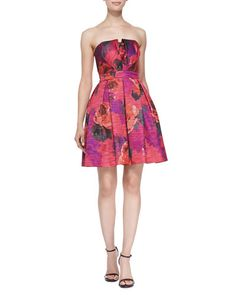 Trina Turk	 Marley Strapless Floral Cocktail Dress Available at Nieman Marcus