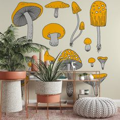 Mushroom Wallpaper - Smooth Wall Decal / 1 roll: 24W x 96H