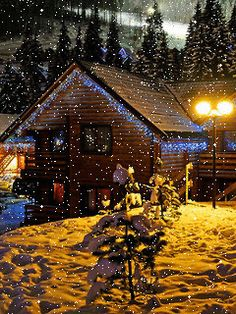 """Look"""" its snowing right now at the Browns on Christmas! Christmas Scenes, Christmas Love, Christmas Pictures, Beautiful Christmas, Winter Christmas, Vintage Christmas, Merry Christmas, Holiday Gif, Winter Scenery"""