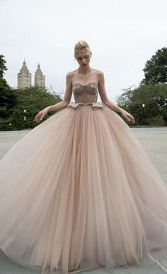 Dress 4 from Inbal Dror wedding dresses 2016 Bridal Collection - Gorgeous blush nude princess gown, with fitted corset, floral lace embellishments, and layered tulle - see the rest of the collection on www.onefabday.com