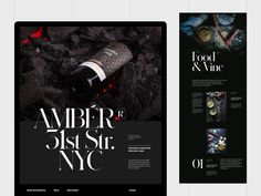Amber Restaurant & Wine Bar designed by Hrvoje Grubisic. Connect with them on Dribbble; the global community for designers and creative professionals. Bar Drinks, Alcoholic Drinks, Wine Bar Design, Restaurant Website Design, Social Media Page Design, Typography Letters, Lettering, Web Design Inspiration, Amber