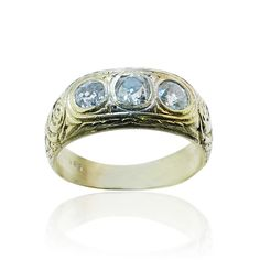 Ring with 3 Diamonds  Bandring mit 3 Altschliff Diamanten 0,853ct Gelbgold