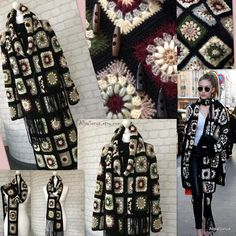 Items similar to Crocheted coat and scarf Jacket Granny square Cardigan variegated blocks on Etsy Crochet Bolero, Cardigan Au Crochet, Boho Crochet, Crochet Coat, Crochet Jacket, Knitted Shawls, Irish Crochet, Crochet Yarn, Crochet Flowers