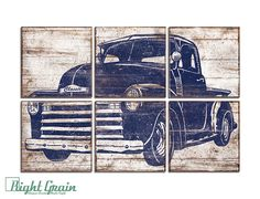 Large Baby Boy Nursery Wall Art Old Vintage Pickup by RightGrain