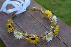 Sunflower & Daisy Baby's Breath Crown-summer by BohoHaloCompany