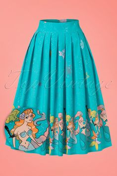 "Be a beautiful mermaid in this 50s Sophia Mermaid Swing Skirt!  ""Under the sea, under the sea, darling it's better, down where it's wetter, take it from me"".... the most gorgeous creatures live in the ocean ;-) This stunning pleated semi-swing skirt is worn high at the waist and makes you want to do the happy dance. Made from a firm yet supple, aqua blue cotton blend with a light stretch and features a fabulous mermaid print. You'll feel like a real gir..."