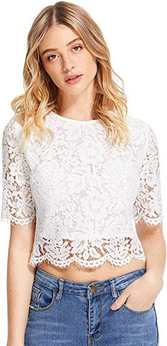 MakeMeChic Women's Short Sleeve Sexy Sheer Blouse Mesh Lace Crop Top White S at Amazon Women's Clothing store: