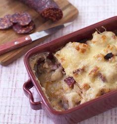 Gratin de chou-fleur au chorizo et béchamel - les meilleures recettes de cuisine d'Ôdélices