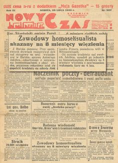 Newspaper from 29 Jul 1933 with a news stating that a man (not necessarily a gay man) was sentenced to 8 months imprisonment, suspended for 4 years for homosexual prostitution.  In Poland between 1932-48 homosexual prostitution was penalized.
