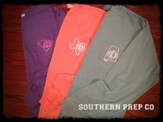 Comfort Colors Brand State Monogrammed Long by SouthernPrepCo, $32.00. Great Christmas idea!!!!