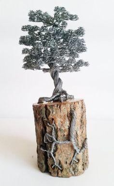 Rustic bonsai wire tree sculpture