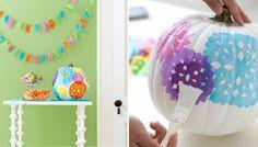 decorar una calabaza con pinturas de colores