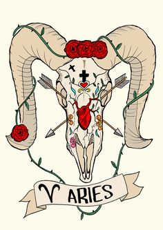 Limited edition ARIES zodiac sign, Original Illustration Ram Skull, Fine Art Print, Roses and anatomical heart, Frida Kahlo by CorazonBeats on Etsy https://www.etsy.com/listing/220908844/limited-edition-aries-zodiac-sign