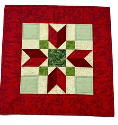 Christmas Quilted Table Topper Green and Red, Quilted Holiday Table Decor, Christmas Quilted Centerpiece, Quiltsy Handmade by LawsonCreations on Etsy