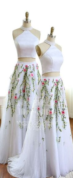 White A-line tulle lace two pieces long prom dress, unique evening dress, white formal dress for teens