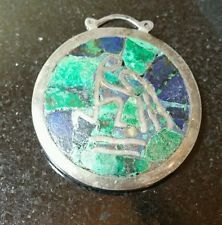 Vintage Taxco Mexico Sterling Silver Malachite And Lapis Inlaid Brooch / Pin