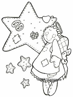 digi8605 Star Angel Christmas Embroidery Patterns, Applique Patterns, Craft Patterns, Embroidery Applique, Primitive Stitchery, Primitive Patterns, Primitive Crafts, Pattern Coloring Pages, Coloring Book Pages