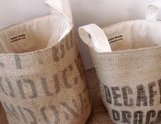 projects with coffee sacks!now where do I find coffee sacks for cheap? Burlap Projects, Burlap Crafts, Fabric Crafts, Alpillera Ideas, Coffee Bean Sacks, Coffee Beans, Sewing Crafts, Sewing Projects, Knitting Projects