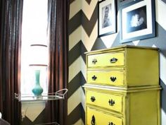 chevron walls and yellow dresser…love it! a smaller chevron print would be perfect for a wall or two in our room- same color scheme and all! Doing our room n yellow and navy blue @ Home Design Ideas Paredes Chevron, Style At Home, Yellow Dresser, Colored Dresser, Chevron Dresser, Interior And Exterior, Interior Design, Modern Interior, Yellow Interior