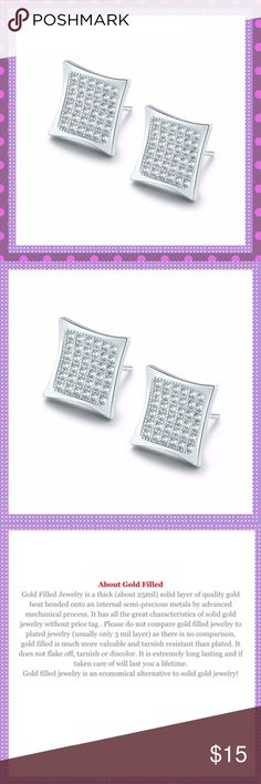 """Square White Gold w/White Sapphires Earrings GORGEOUS 18K White Gold Filled Square Pierced Earrings with Channel Set White Sapphires, butterfly backs, approx. O.5""""X0.5"""", weight:2.9gPRICE IS FIRM Boutique Jewelry Earrings"""