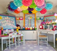 Rainbow classroom theme! I love all the poofs in one spot...