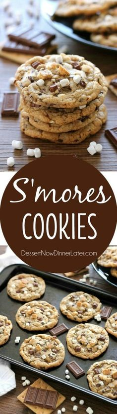 These S'mores Cookies are made with a graham cracker cookie dough, miniature…