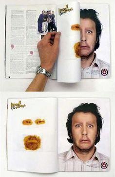 기발한 광고사진! 양면테이프 잡지광고!