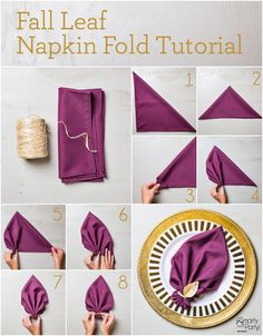Napkin Folding - Seasonal Ideas For Table Decoration . Awesome How To Set A Table For Dinner Holiday Napkin . Cloth Dinner Napkins, Paper Napkins, Beverage Napkins, Cocktail Napkins, Place Settings, Table Settings, Purple Cocktails, Decoration Table, Dinner Table