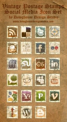 I adore this designer. These are everything I dreamt about but lacked the skill to make! http://www.dawghousedesignstudio.com/archives/2010/free-icons-vintage-postage-stamps-social-media-icon-pack/