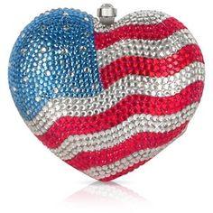 Julia Cocco' US Flag Crystal Jeweled Heart Clutch