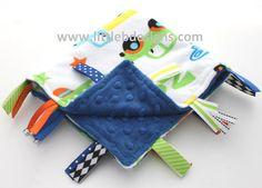 Personalized Baby Tag Blanket Ribbon Lovey Boy  by littlebnursery
