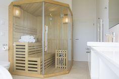 Finnische Sauna mit blick aus Wasser Sauna, Divider, Bathtub, Room, Furniture, Home Decor, Environment, Vacation, Water