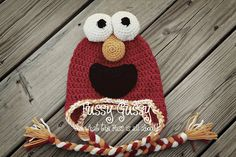 Crocheted Elmo hat