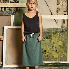 Organic Cotton Long Skirt - Sage - 2-8y