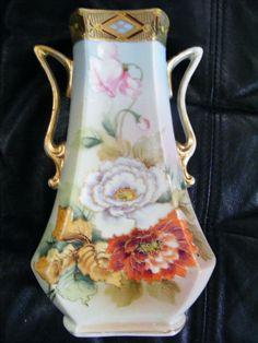 Vintage Nippon Hand Painted Vase Gold Beaded Maple Leaf Mark Handled