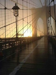 NYC. Brooklyn Bridge at sunset