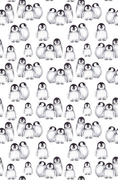 Little baby penguins, seamless pattern. JeannaD watercolor illustration - Bed and Bedcover Watercolor Wallpaper Iphone, Baby Wallpaper, Kawaii Wallpaper, Wallpaper Iphone Cute, Cellphone Wallpaper, Pattern Wallpaper, Penguin Watercolor, Penguin Drawing, Penguin Art